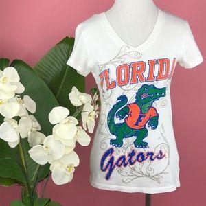 {Soffe} UF Florida Gators VNeck White Cotton Shirt